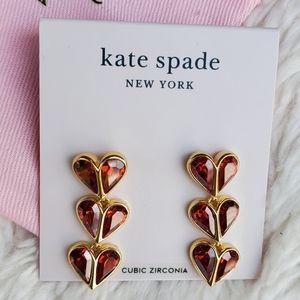 Kate Spade Linear heart earrings NWT